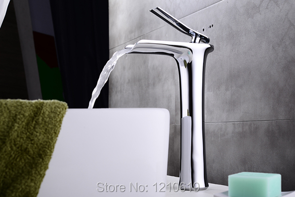 Newly Fashion Bathroom Basin Tall Faucet Deck Mounted Chrome Polished Mixer Tap Waterfall Sink Faucet Single Handle Single Hole
