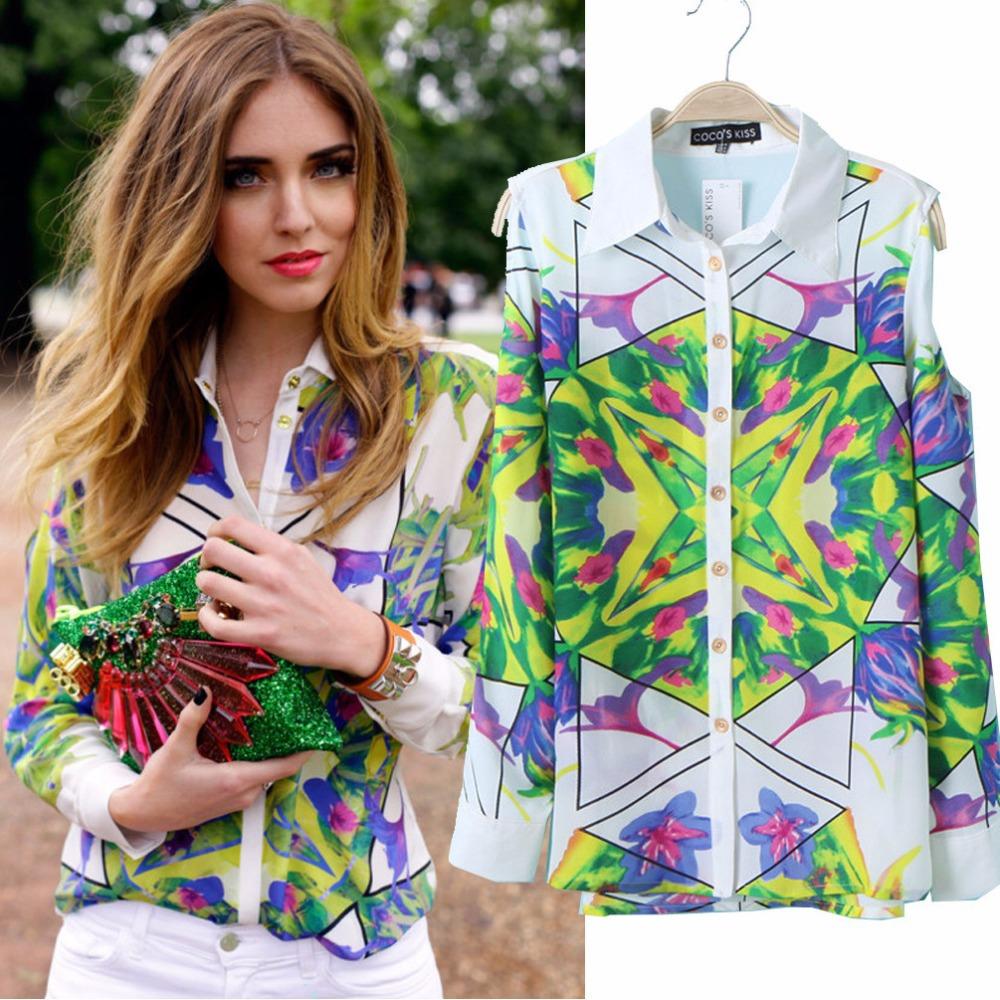 Fashion Geometric Floral Print Blouse Long sleeve Dew shoulder Women Shirt Size:S,M,L Blusas - BossyLady store
