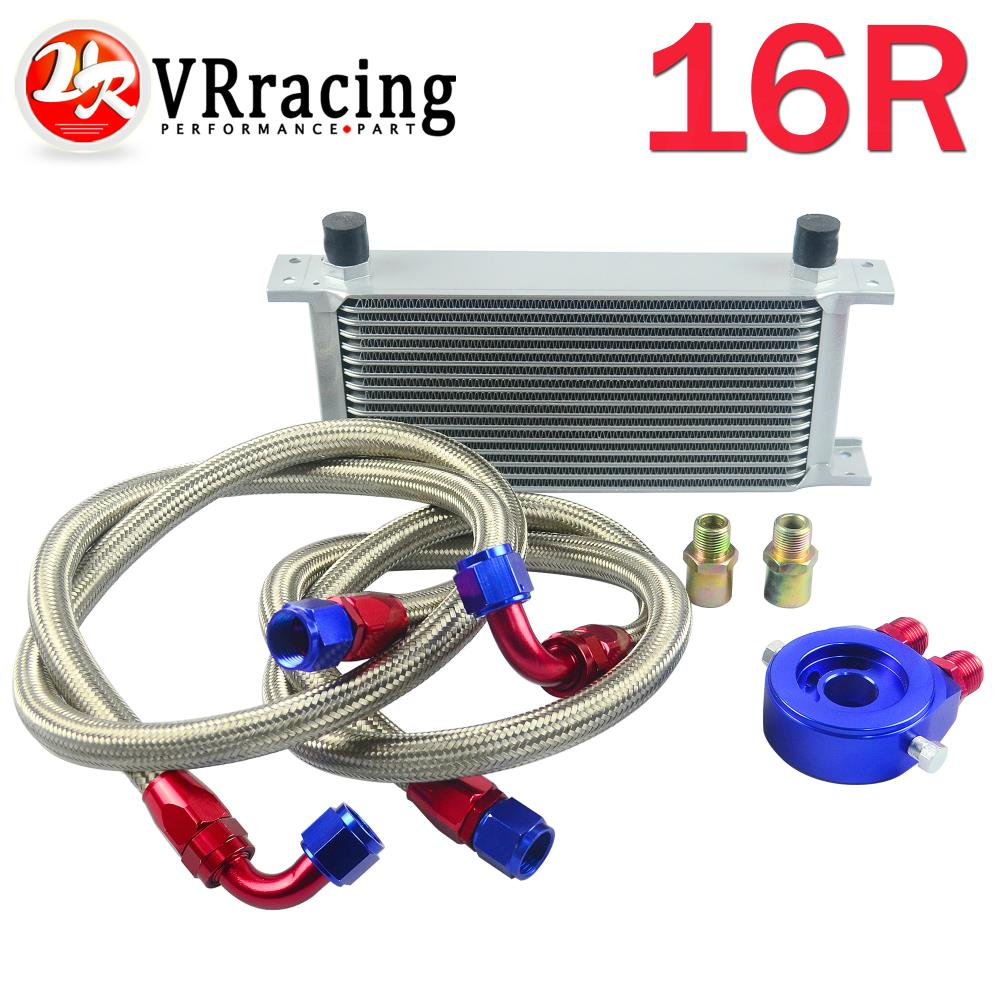 VR-AN10 OIL COOLER KIT 16ROWS TRANSMISSION OIL COOLER SILVER+OIL FILTER ADAPTER BLUE+STAINLESS STEEL BRAIDED HOSE VR7016+6721BR(China (Mainland))