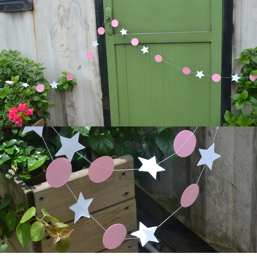 Star&Circle Banners Party Decoration Pink Baby Showers Garlands Kids Birthday Event Supplies Happy Hanging Background Garlands(China (Mainland))