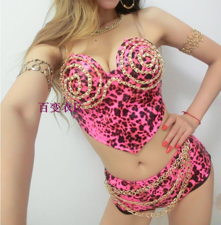 2015 female singer dj sexy jazz dance stage performance women ds costume dance clothes faux leather leopard print chain setОдежда и ак�е��уары<br><br><br>Aliexpress