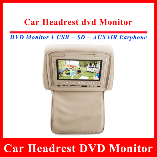 7 inch Digital Touch Screen Car Headrest DVD Player HD Monitor with IR Wireless Headphone USB AUX SD Audio Video Russian Spain(China (Mainland))