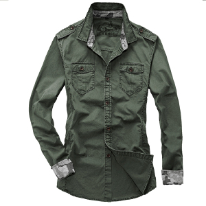Brand Men's fashion top Tooling long-sleeve loose 100% cotton shirt outdoor hunting military casual shirts plus size M~4XL - Vogue Anmi Mens Garments Store store