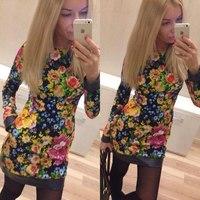 Новая мода печати платье с длинными рукавами, платья осень-зима