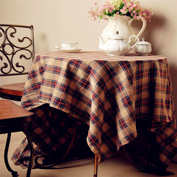 Brown Stripe Table Cover Kitchen Manteles Redondos Korean Wedding Table Covers Multi Size Polyester Cotton Stripe Table Cover(China (Mainland))