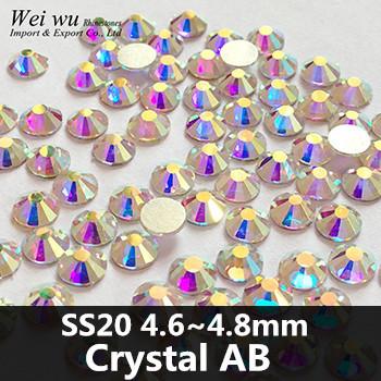 1440pcs SS20 Crystal AB Glass Stones Machine Cut Strass Non Hot Fix Rhinestones For Nail Art(China (Mainland))