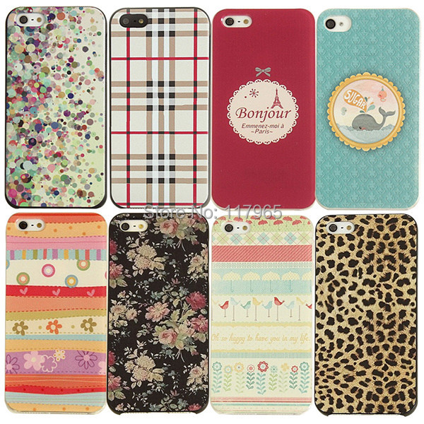 Painting Attractive Charming Floral Stripes Painted Hard Phone Case Cover iPhone 4 4s 5 5s EC179/EC180 - xycharm store