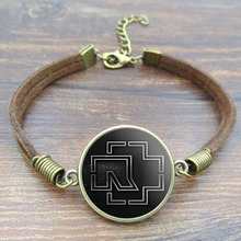 Vintage Brown Rope Bracelet Rock Band Rammstein Logo Glass Cabochon Picture Fashion Leather Bracelets for Women Men Jewelry