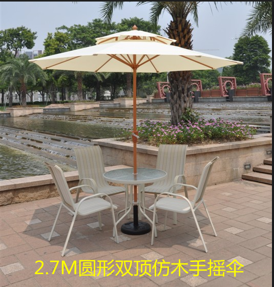 Outdoor patio umbrellas umbrella 2.7 m high-grade wood double top in the column with stand<br><br>Aliexpress