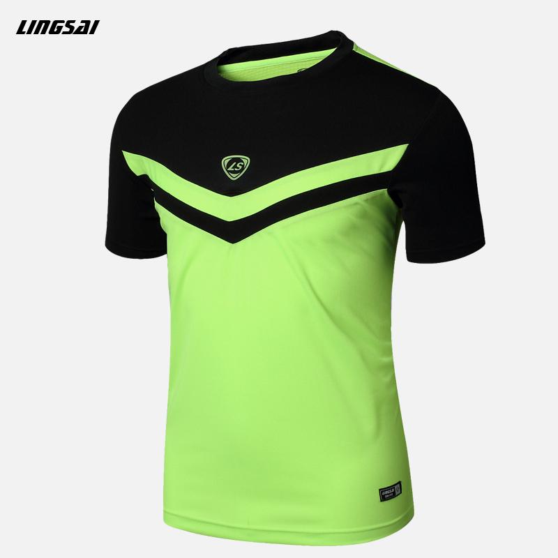 LINGSAI Brand Men's t-shirt Quick Dry Breathable Fitness T-shirts men Jersey Sports running Shirt Soccer Jerseys(China (Mainland))