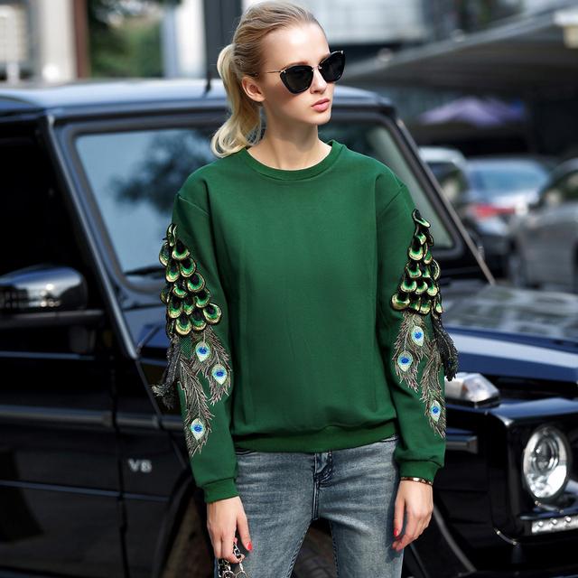 2016 зима мода павлиньи перья толстовка женщины сгущает с длинными рукавами вышивка ...