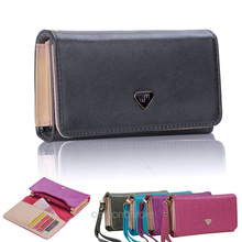 Fashion Candy Color Women's Envelope Wallet Purse Multifunctional PU Leather Clutch Bag Solid Phone Case Cover for all phone(China (Mainland))