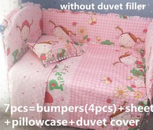 Promotion! 6PCS Bed Bedding Around Set 100% Cotton Crib Sets,Soft Comfortable  (bumper+sheet+pillow cover)
