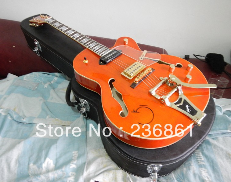 Free Shipping Gretsch Falcon JAZZ Semi Hollow Bigsby Tremolo saffron yellow transparent pick guard Electric Guitar With Case(China (Mainland))