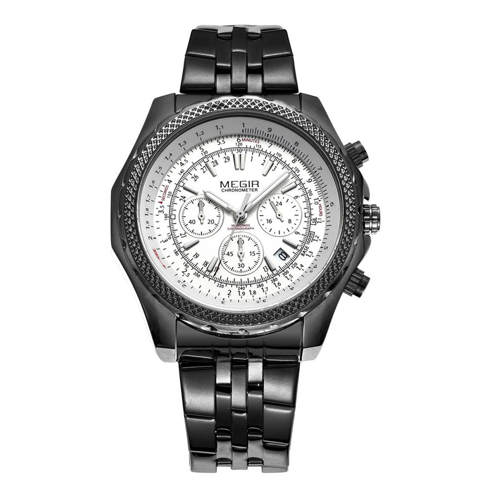 MEGIR Brand Mens Business Casual Watch Stainless Steel Analog Quartz Wristwatches Brass Dial Clock relogio masculino MGE03<br><br>Aliexpress