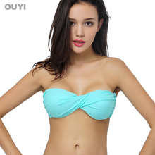 2015 Summer OUYI Custom Solid Color Women Sexy Bikini Top Strapless Push Up Beachwear Retro Vintage Swimwear Twist Bandeau 364