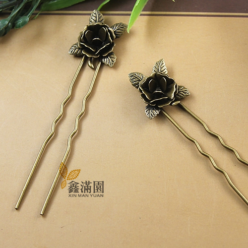 (10 pieces/lot) flower hair sticks metal copper antique bronze plated vintage style hair sticks jewelry for women cl0011-cl0021(China (Mainland))