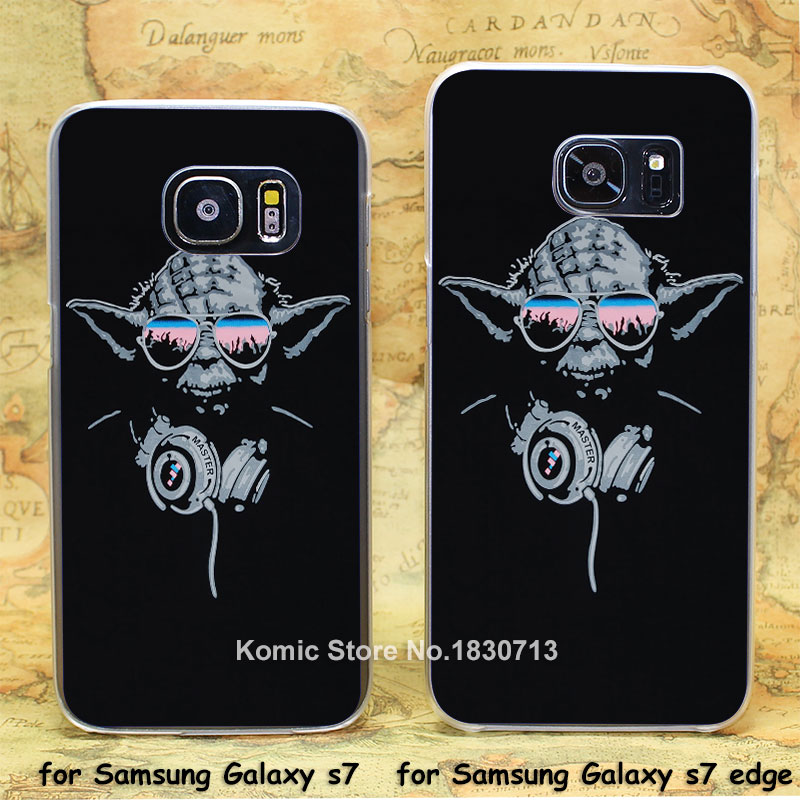 star wars Cool DJ Yoda Trance transparent clear hard case cover for Samsung Galaxy s7 s7 edge(China (Mainland))
