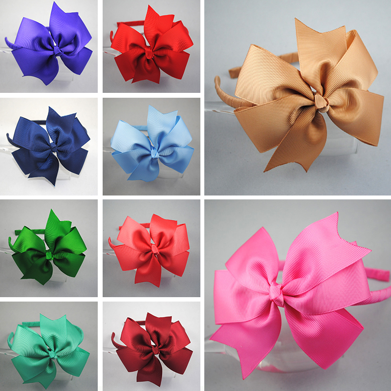 1 Cute Girls Hair Bow Headband Baby Big Grosgrain Hairband Kid's Gift Fashion Children Accessories - SUSAN BEAUTY store
