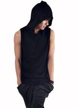 New White Black Fashion Men Solid Color Sleeveless Casual Sport Hoodies Regular Hooded Sweatshirts Sport wear(China (Mainland))