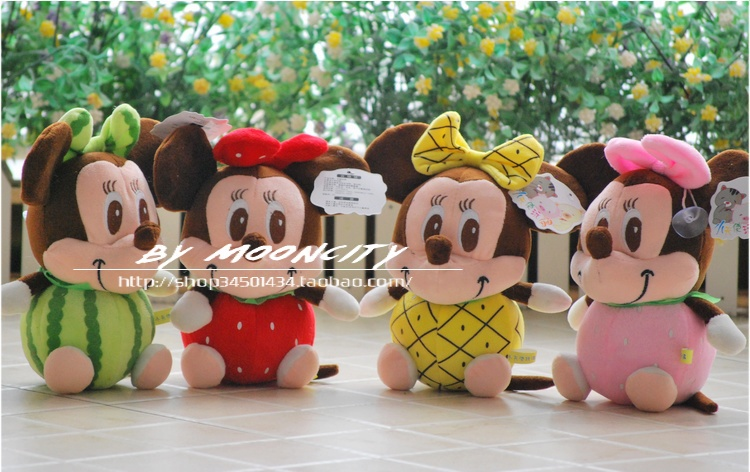 Movie & TV about 22cm fruit designs lovely mickey & Minnie plush toy doll baby gift b4301(China (Mainland))