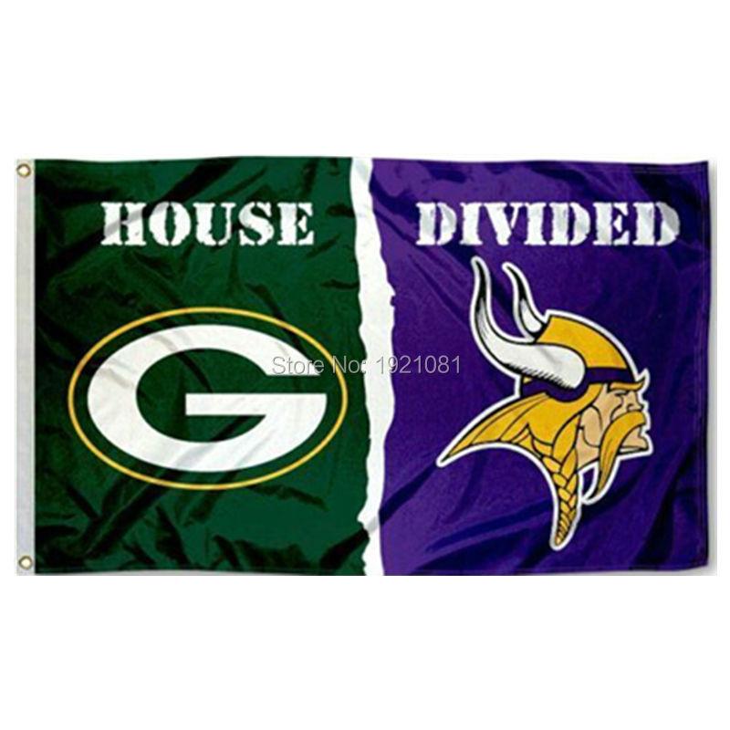 Green Bay Packers With Minnesota Vikings USA House Divided NFL Premium Team Football Flag 3X5FT HDGBPMV01(China (Mainland))