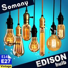 E14 E27 Retro Vintage Style Decor Lamp 40W 110V 220V Antique Incandescent Bulb C35 ST64 A19 T45 G80 G95 Filament Edison Light(China (Mainland))