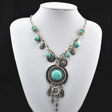(Min. order $10)Vintage look tibetan alloy silver plated classic round bead  turquoise jewelry  necklace pendent RD088