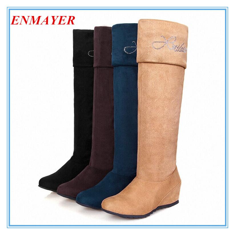 ENMAYER High Wedges Snow Boots for Women Warm Fur Winter Shoes Knee High Rhinestone Platform long Knight Boots big size 34-47