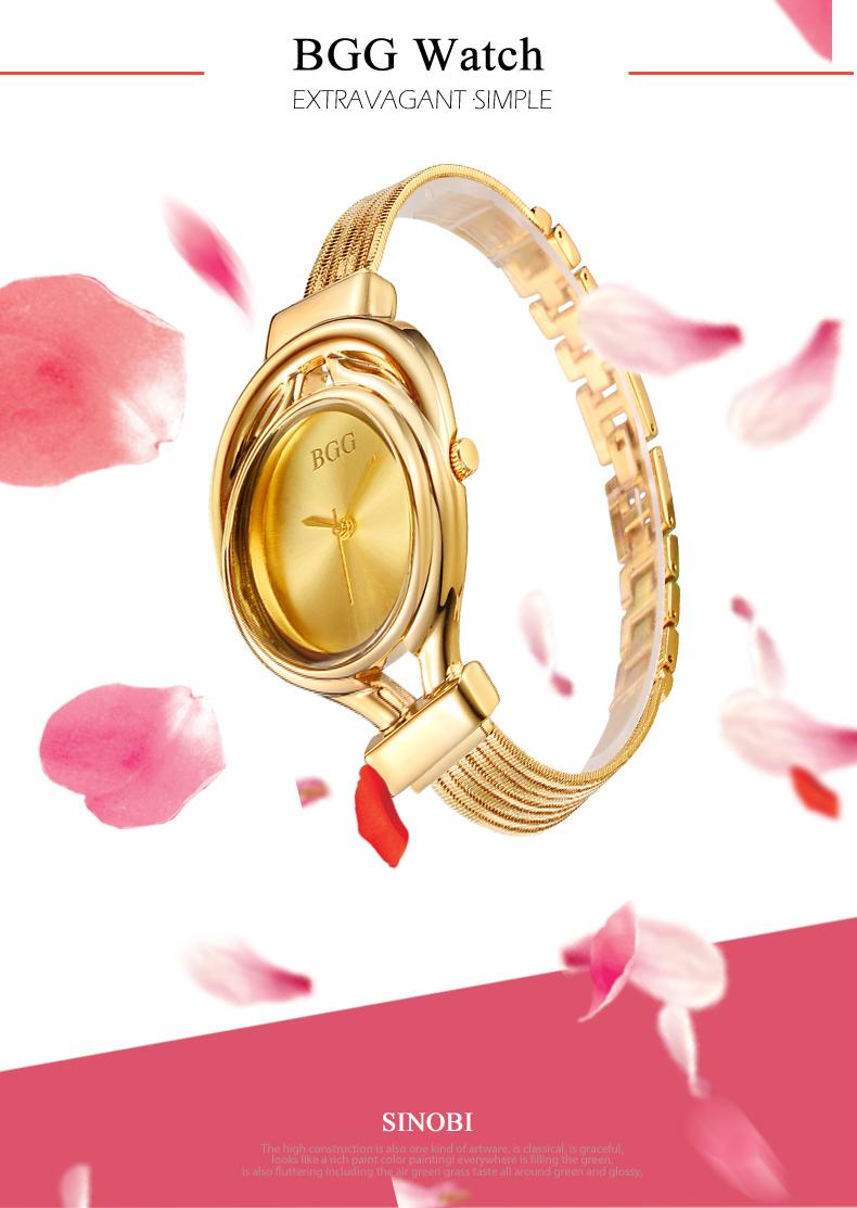 BGG Brand Women steel dress watches ladies Luxury simple Casual quartz watch relogio feminino female silver clock hours gift