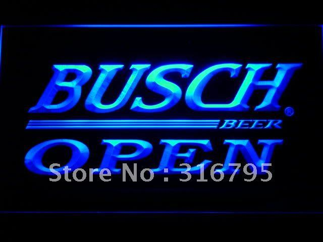 045-b Busch Beer OPEN Bar LED Neon Sign with On/Off Switch 7 Colors to choose