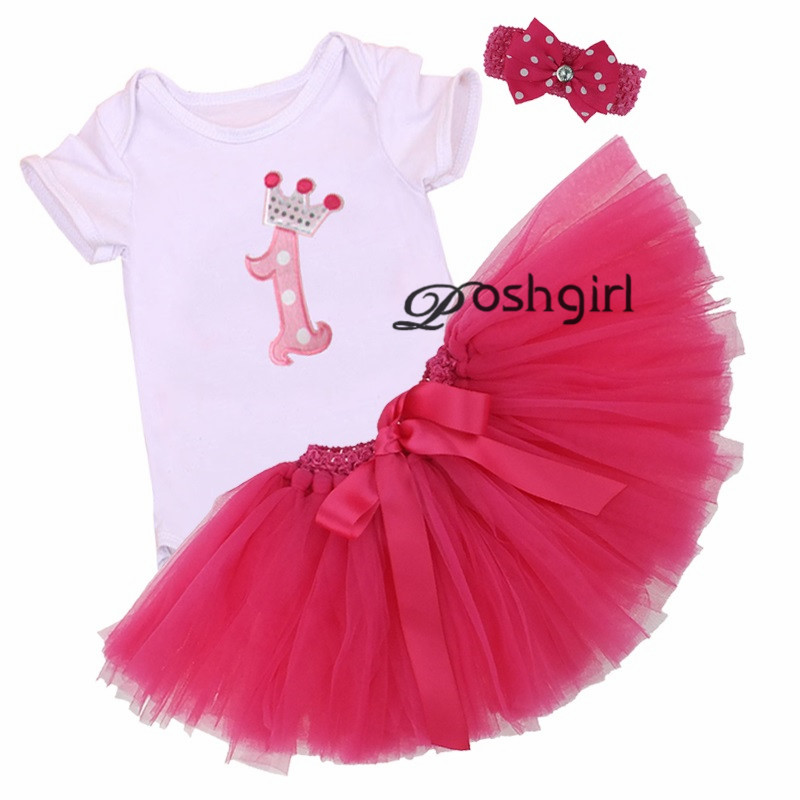 3Pcs Set Baby Girl Crown Tutu Dress Infant 1st Birthday Party Outfit Romper Bubble Skirt Headband Bebe Newborns Tulle Vestidos(China (Mainland))