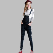 2016 Autumn Fashion School Girls Button Pencil Denim Jumpsuits female Preppy Style Jeans Trousers Free Shipping Large Size 26-40