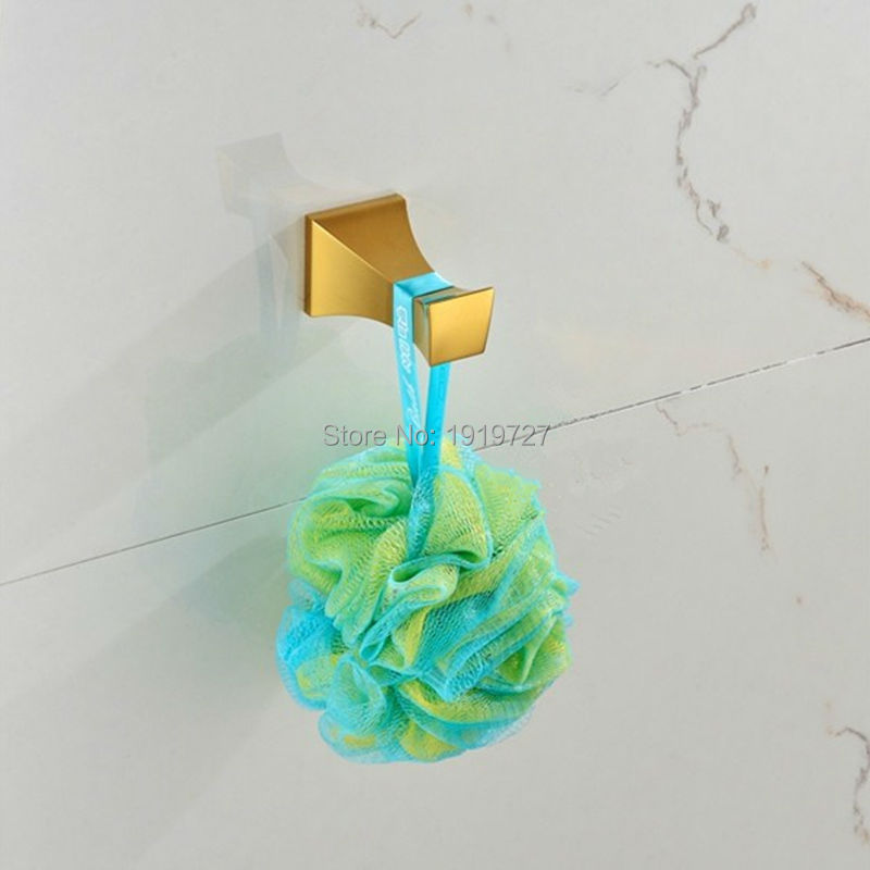 2015 Newly Europe Square Bathroom Accessories Wall Hangers For Clothes Gold Bath Robe Hook(China (Mainland))