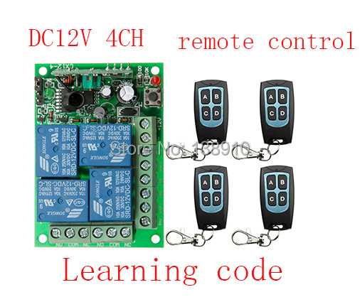 New DC12V 4CH RF Wireless Remote Control System teleswitch 4 transmitter and 1 receiver universal gate remote control(China (Mainland))