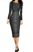 2015 Fashion Spring Dress Zip Long Sleeve O-Neck Leopard Printed Office Casual Dress Women Work Wear Vestidos Femininos S14038(China (Mainland))