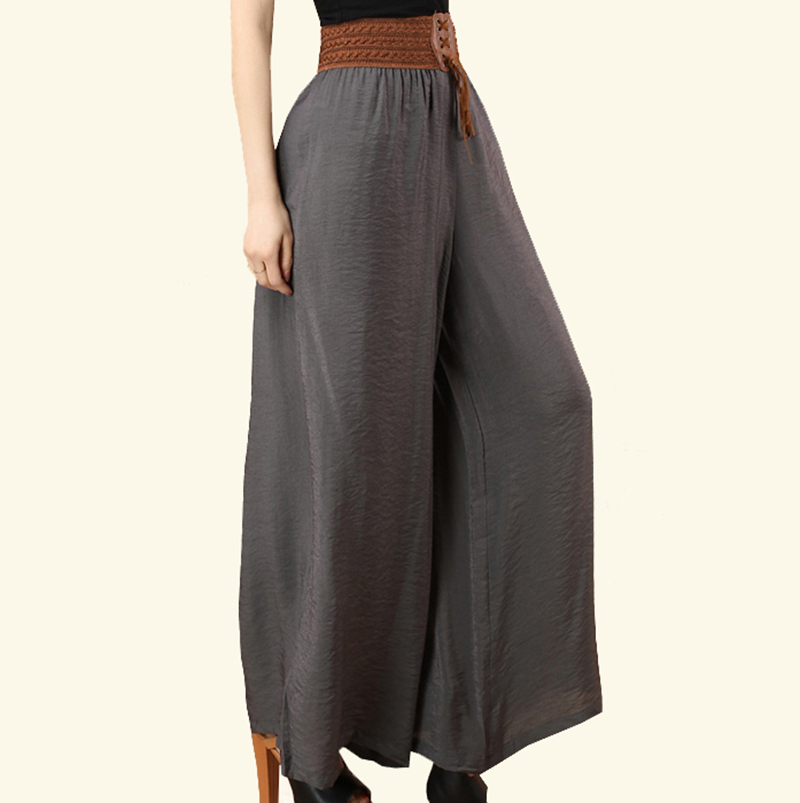 Elegant Womenu0026#39;s Summer Cotton And Linen Wide Leg Pants Big Yards Loose Pant Fashion Culottes Elastic ...
