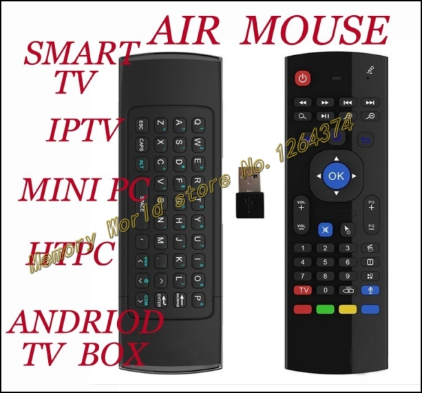 New 2014 Hot Full Keyboard and TV Remote Motion Sensor, smart TV IPTV mini TV HTPLC PCTV, Fly Air Mouse from memory world(China (Mainland))