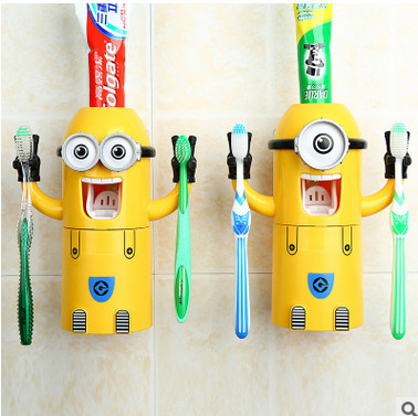 Despicable Me Cute Minions Design Set Cartoon small yellow people Toothbrush Holder Automatic Toothpaste Dispenser Brush Cup(China (Mainland))