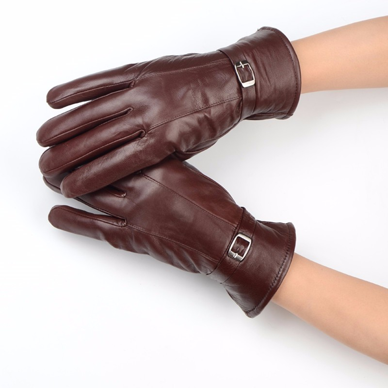 Sheepskin Gloves fashion women mitten gloves 24 cm length male pattern solid Luxury Party Date Anniversary  Accessories AFX006-1