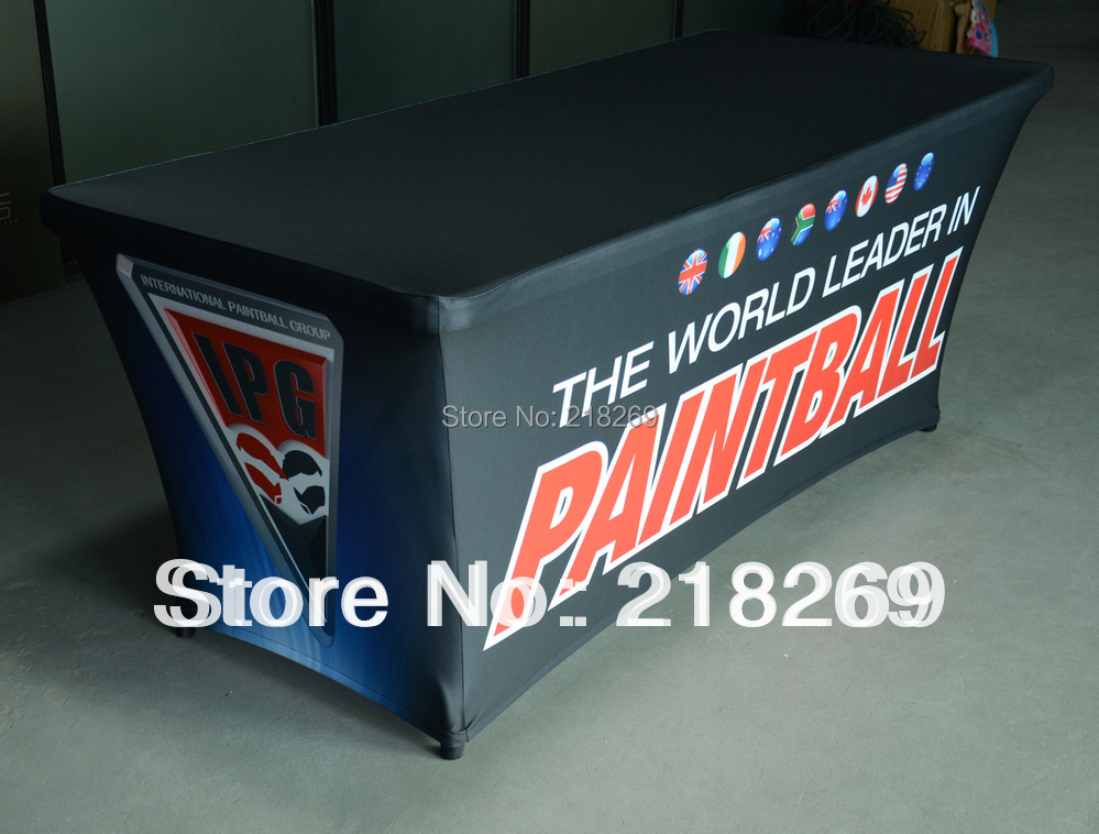High Quality 6ft Spandex Custom Printed Table Cover, print your company logo Exhibition customized(China (Mainland))