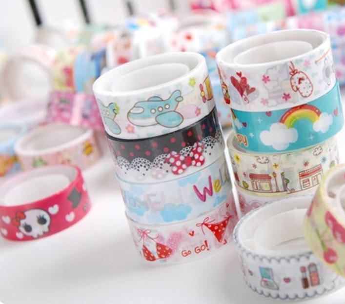 Modern 10pcs Cute Mixed Colors Japanese Washi Tape Hobby Decorative Crafting Tape Scrap Jun09(China (Mainland))