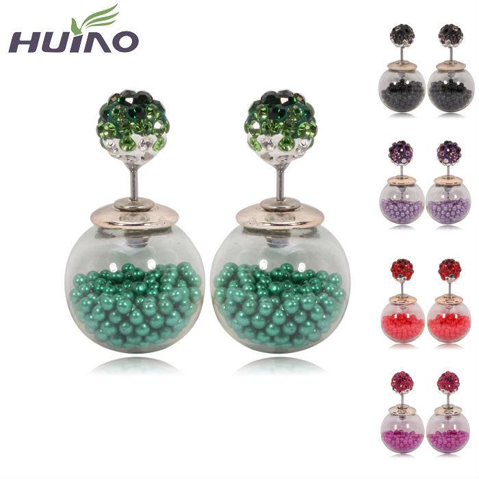 Korea Crystal Top Ball Women Glass Ball Pearl Jewellery Stud Earrings Women Pearl Jewellery(China (Mainland))