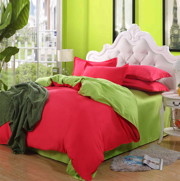 cotton pure color 4pcs bedding set, twin queen size bed line/bedclothes+free shipping(China (Mainland))