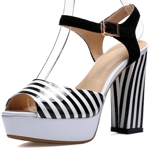 ENMAYER New Summer Sandals Women pumps Round toe Platform Sandals Buckle strap Thick heels Fashion Sexy sandals Black size 34-39