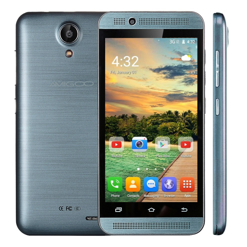 In stock AMIGOO H2000 4.5inch IPS Android 5.1Mobile phone MTK6580 Quad Core 512MB RAM 4GB ROM 3G 854*480 Dual SIM GPS cellphone(China (Mainland))