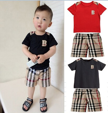 2015 New Summer Children Clothing Set Baby Boys Clothing Short Plaid O-neck T shirt+Shorts Suit Set 2-7 Years Boys Clothing(China (Mainland))