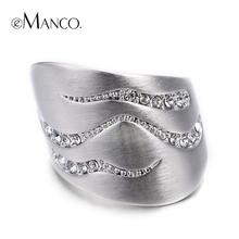 E-Манко Модный Персонализированные Геометрия кольца для Женщин Мода Кристалл Матовый Серебристый Покрыло Кольцо Ювелирный Бренд(China (Mainland))
