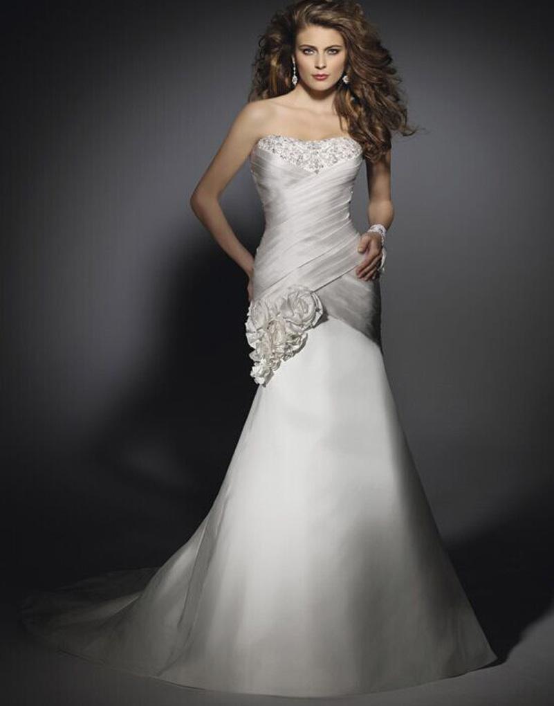 Atacado preço barato cetim sereia do vestido de casamento Strapless vestidos de casamento de praia vestidos de noiva 2015 reino unido(China (Mainland))