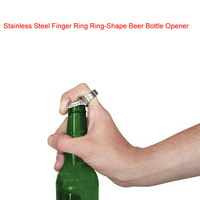 2PCS/LOT 2016 New Arrival Unique Creative Versatile Stainless Steel Finger Ring Ring-Shape Beer Bottle Opener Bar Tool